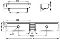 Keramische wastrog 950x330x160mm-2