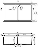 Keramische dubbele spoelbak 900x560x250mm-2