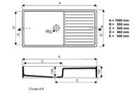 Keramische spoelbak met afdruipdeel rechts, 1000x500mm-2