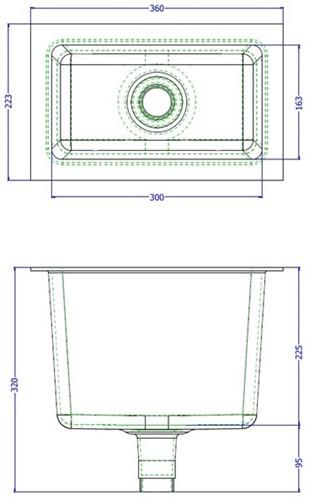 Labstream PP spoelbak 300x163x230mm, RAL 7035-2