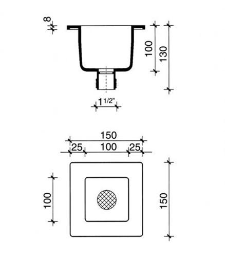 PP trechter 100x100x100mm met zeefje-2