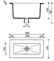 PP trechter 250x100x150mm met zeefje-2