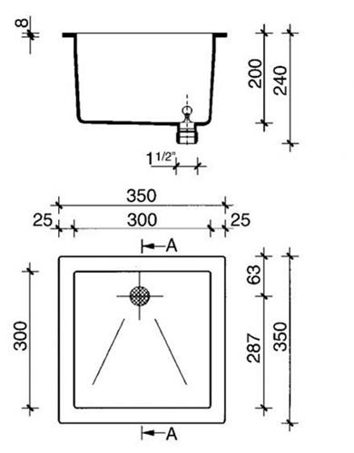 PP spoelbak 300x300x200mm-2