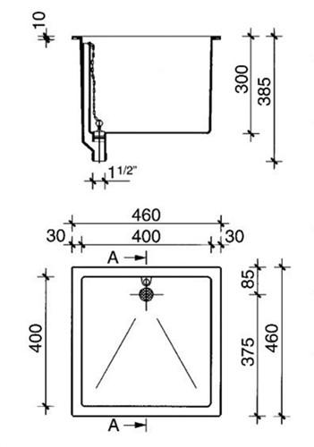 PP spoelbak 400x400x300mm-2