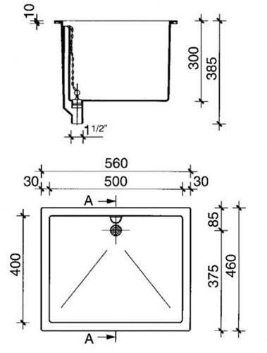 PP spoelbak 500x400x300mm met overloop aan lange zijde-2