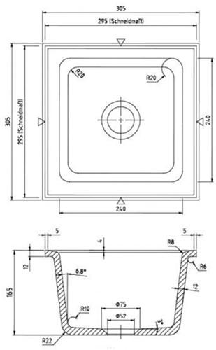 KeraLab spoelbak 240x240x150mm ONDERBOUW-2