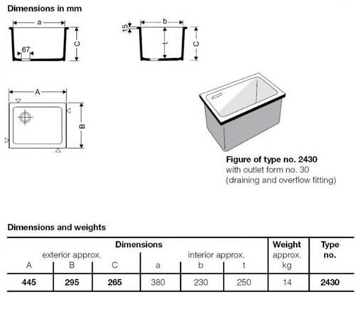 KeraLab spoelbak 380x230x250mm met overloop-2