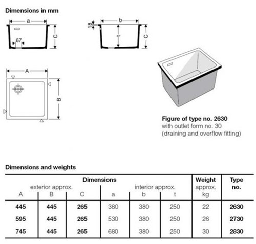KeraLab spoelbak 530x380x250mm met overloop-2