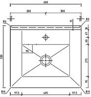 KeraLab uitstortspoelbak 600x530x215/297mm met overloop-2