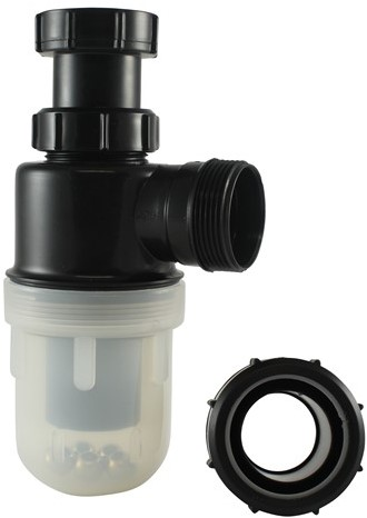 """Labstream PP bottle trap 1,5""""x1,5"""" pipe, clear cup"""